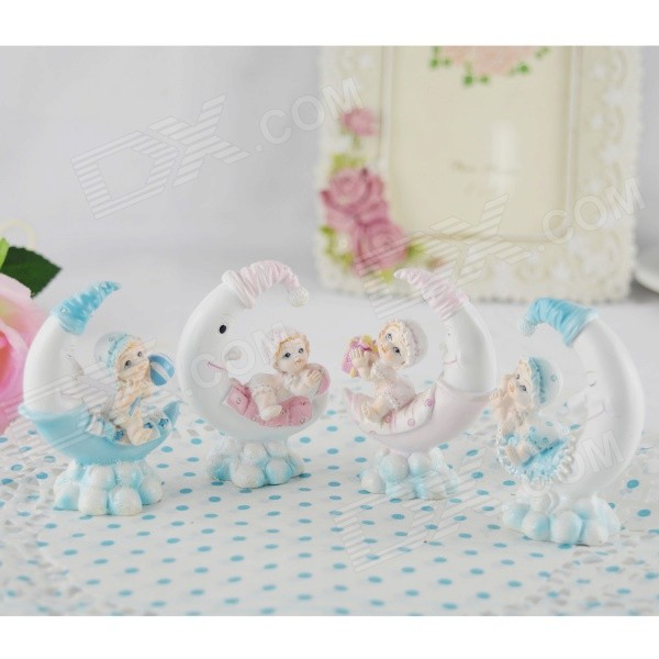 FEIS AZ 5677 Kid Sitting on Moon Style Desktop Decorations for Baby - Blue + Pink + White (4 PCS)