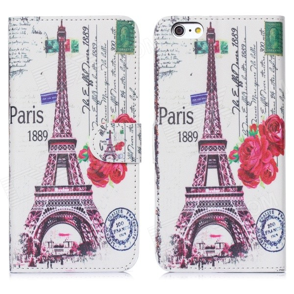 ENKAY Eiffel Tower Pattern Flip-Open PU + Plastic Case Cover w/ Stand / Card Slots for IPHONE 6 4.7""