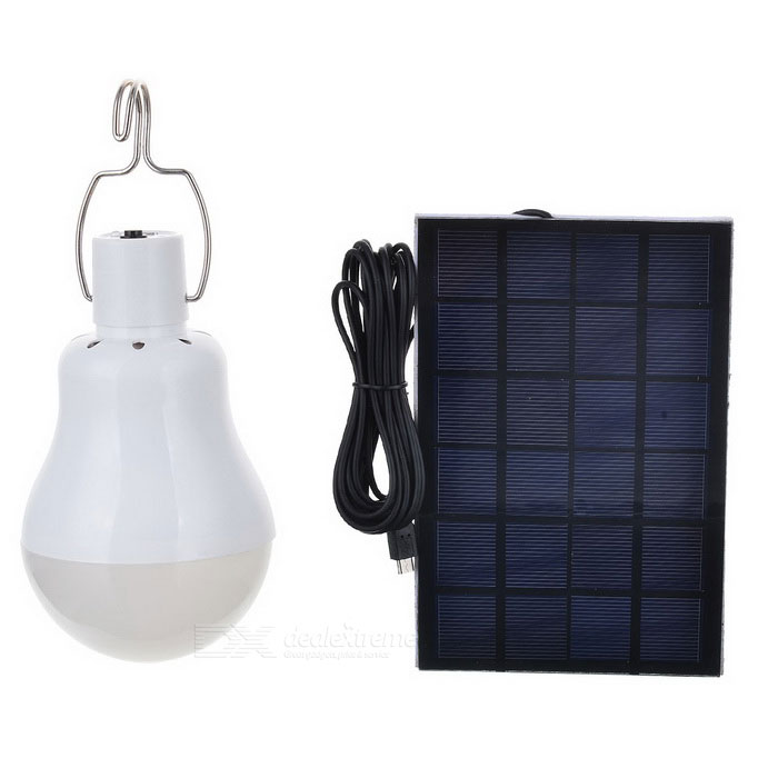 S-3800 6W 480lm 6000K 37-LED White Light Solar Powered Camping Lamp - White + Black (3.7V)