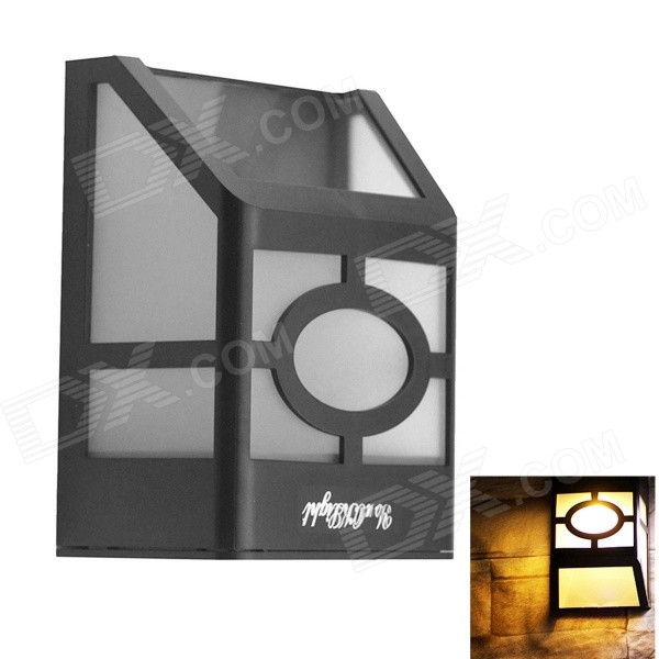 High Power 2-LED Warm White Light Wall Mounted Solar Lantern / Fence Lamp - White + Black