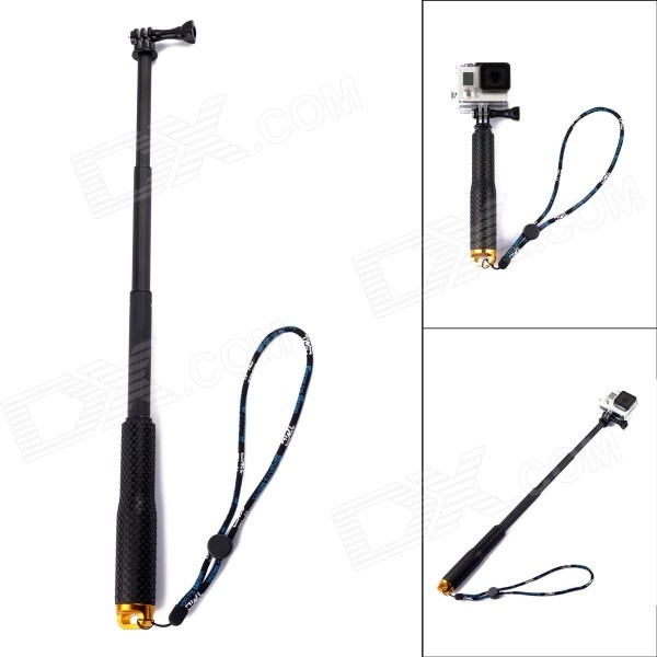 4-Section Retractable Handheld Monopod for GoPro - Black + GoldMounting Accessories<br>Form ColorBlack + GoldBrandTMCQuantity1 DX.PCM.Model.AttributeModel.UnitMaterialRubber + plasticShade Of ColorBlackCompatible ModelsGoPro Hero 2,GoPro Hero 3,GoPro Hero 3+,GoPro Hero 4RetractableYesSection Number4Full Size 49 DX.PCM.Model.AttributeModel.UnitFolded Size19 DX.PCM.Model.AttributeModel.UnitMax.Height49 DX.PCM.Model.AttributeModel.UnitMin.Height19 DX.PCM.Model.AttributeModel.UnitMax.Load500 DX.PCM.Model.AttributeModel.UnitBand Length25 DX.PCM.Model.AttributeModel.UnitPacking List1 x Monopod1 x Screw<br>