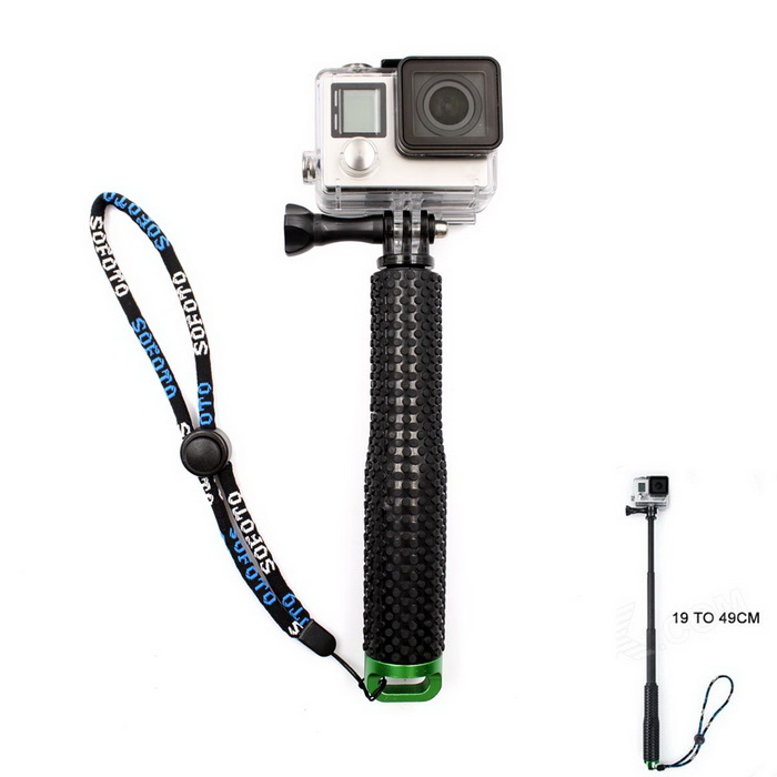 Handheld Monopod w/ TrIPOD Mount Adapter for GoPro Hero - Black +Green