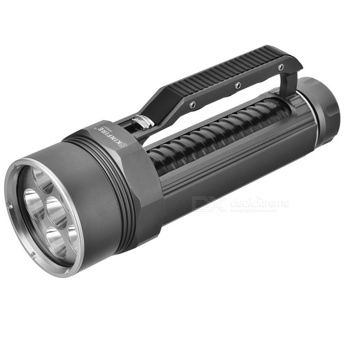 KINFIRE KF600 High Power 2400LM Branco escurecimento Mergulho 6-lanterna LED - Prata + Preto (2 x 26650)