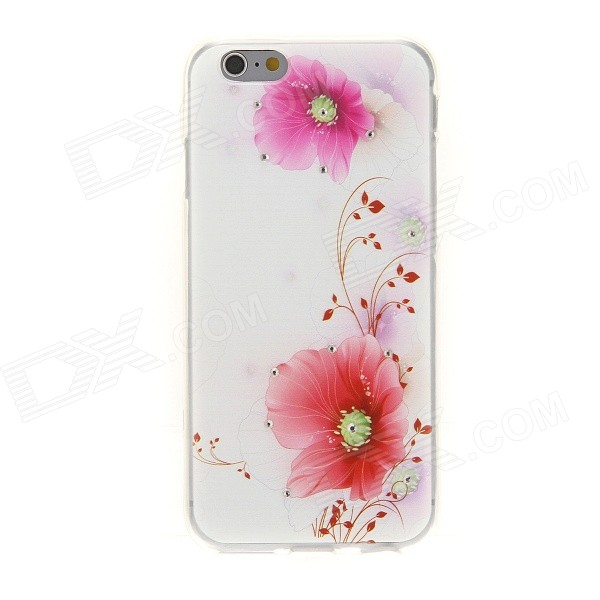 Kinston Pink Twin Flower Diamond Paste Pattern TPU Soft Case for IPHONE 6 4.7 kinston flowers