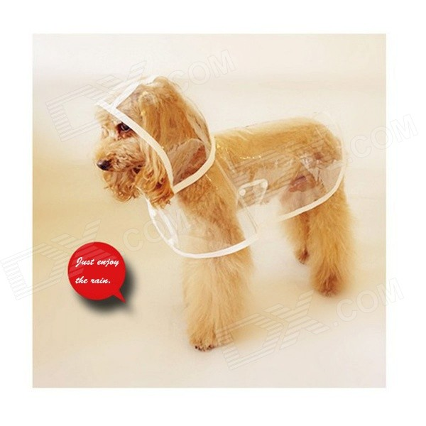SA-0051 Summer Wear Raincoat Poncho for Pet Dog / Cat - White + Translucent (L) large abs auto feeding bowl for pet dog cat deep pink translucent white