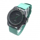 WEIPENG W-3 Men's Outdoor Sports Cloth Band Analog Quartz Wrist Watch - Green + Black (1 x LR626)