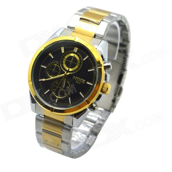 MIKE Men's Business Style Steel Band Analog Quartz Wrist Watch - Golden + Silver (1 x 626) lejoys