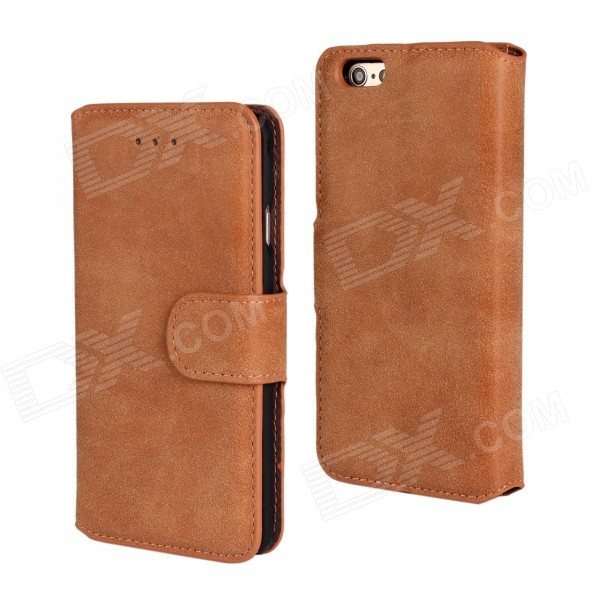 Protective Flip-Open Retro Matte PU Leather Case w/ Card Slots + Stand for IPHONE 6 4.7 - Brown