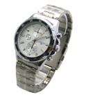 MIKE Men's Business Style Steel Band Analog Quartz Wrist Watch - Silver + White (1 x 626)