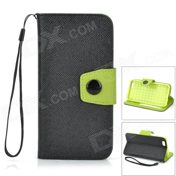 Protective PU Flip-Open Case w/ Card Slots / Stand / Strap for IPHONE 6 4.7 - Black + Green protective pu case w stand strap for iphone 5 5s black