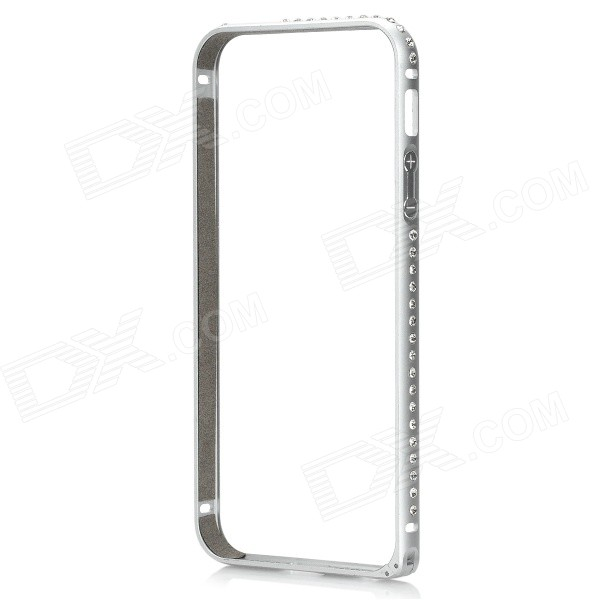 Protective Aluminum Alloy + Rhinestone Bumper Frame Case for IPHONE 5 / 5S - Silver protective aluminum alloy bumper frame case for iphone 5 rose gold