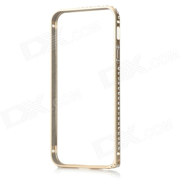 Protective Aluminum Alloy + Rhinestone Bumper Frame Case for IPHONE 5 / 5S - Champagne Gold protective aluminum alloy bumper frame case for iphone 5 rose gold