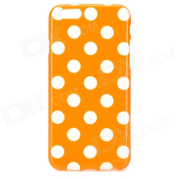 Dots Pattern Protective Silicone Back Case for IPHONE 6 4.7 - Orange + White protective polka dots pattern silicone back case for iphone 5 pink