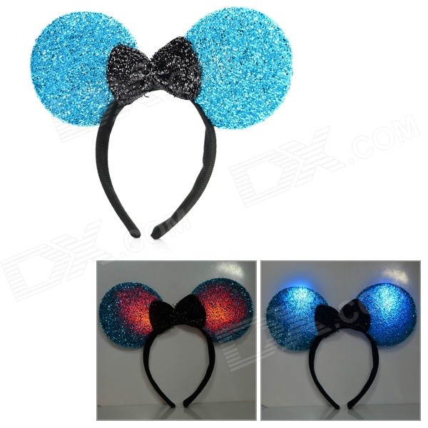 Halloween Fancy Ball Flashing Head Hoop - Blue + Black (3 x AG13)