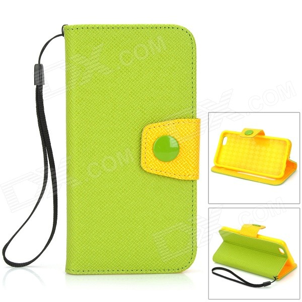 Protective Flip-Open PU Case w/ Card Slot, Stand, Strap for IPHONE 6 4.7 - Green + Orange protective flip open pu pc case w stand card slot for iphone 6 plus 5 5 black