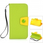 "Protective Flip-Open PU Case w/ Card Slot, Stand, Strap for IPHONE 6 4.7"" - Green + Orange"