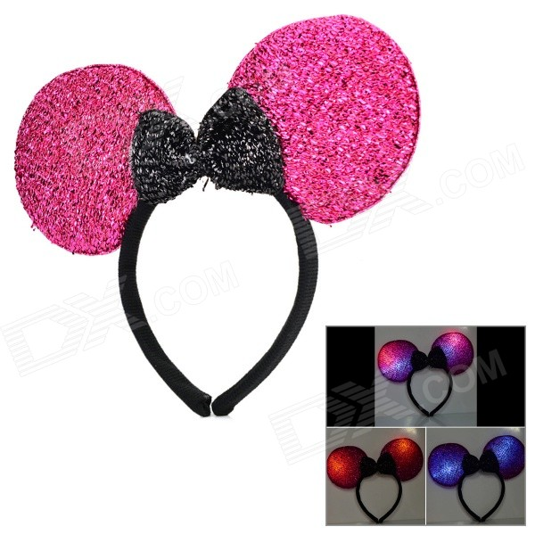 Halloween Fancy Ball Flashing Head Hoop - Deep Pink + Black (3 x AG13)