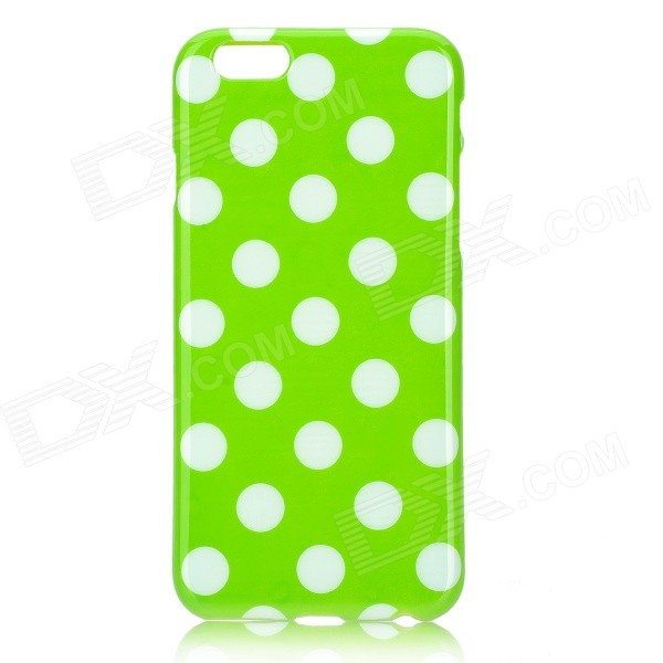 Dots Pattern Protective Silicone Back Case for IPHONE 6 4.7 - Green + White protective polka dots pattern silicone back case for iphone 5 pink