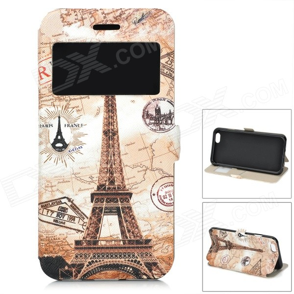 Eiffel Tower Pattern Front Window Flip-Open Case w/ Card Slot for IPHONE 6 4.7 - Beige + Brown solid color litchi pattern wallet style front buckle flip pu leather case with card slots for doogee x10