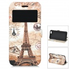 "Eiffel Tower Pattern Front Window Flip-Open Case w/ Card Slot for IPHONE 6 4.7"" - Beige + Brown"
