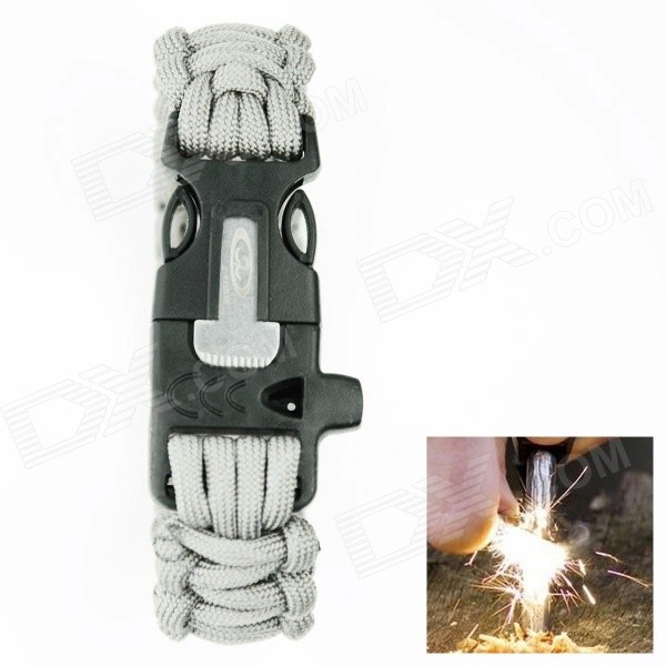 OUMILY Outdoor Survival Paracord Bracelet w/ Flint Fire Starter Scraper + Whistle - Grey fashion survival bracelet with watch compass flint fire starter scraper whistle gear outdoor military casual watches hot