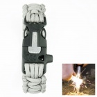 OUMILY Outdoor Survival Paracord Bracelet w/ Flint Fire Starter Scraper + Whistle - Grey