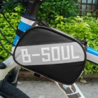 B-soul YA161 Bike Top Tube Oxford + PVC Double Bag w/ Cellphones Protective Pouch Case - Black