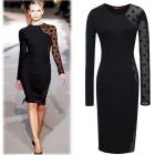 JMJ-A3034 Fashion Long Sleevees Slim Dress - Black (L)