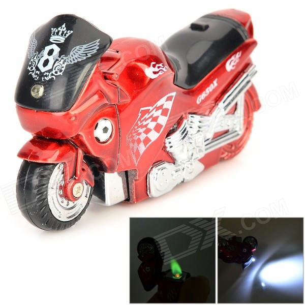 Creative Motorcycle Windproof Gas Butane Lighter - Red + Black creative red wine glass shape plastic butane gas lighter silver