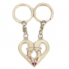 Lovers' Feet & Heart Shaped Stainless Steel Keychains - Silver