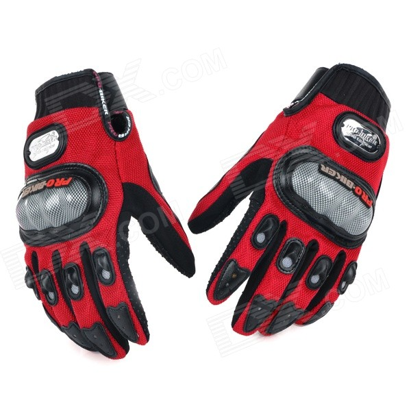 PRO Motorcycle Racing Full Fingers Gloves - Red + Black + Grey (L / Pair)