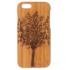 "Hand-carved Tree Pattern Bamboo Back Case for IPHONE 6 4.7"" - Brown + Yellow"