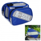 B-soul YA161 Bike Top Tube Oxford + PVC Double Bag w/ Cellphones Protective Pouch Case - Blue