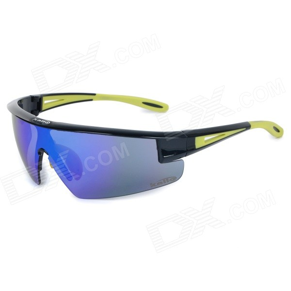 KALLO 99148 Outdoor Cycling TR90 Frame PC Blue REVO Lens Goggles - Black + Yellow topeak outdoor sports cycling photochromic sun glasses bicycle sunglasses mtb nxt lenses glasses eyewear goggles 3 colors
