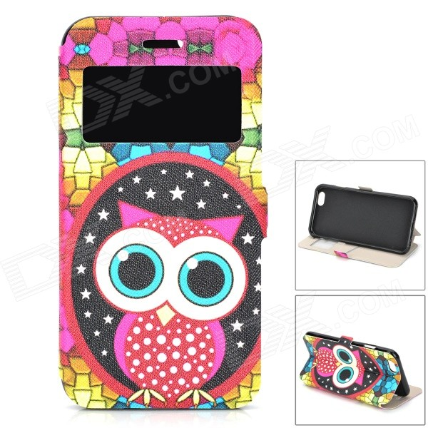 Cute Owl Pattern Front Window Flip-Open PU Leather + TPU Case w/ Card Slot for IPHONE 6 4.7 sunshine cute cartoon owl pattern flip open pu case w holder card slot for iphone 4 4s