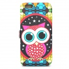 Cute Owl Pattern Front Window Flip-Open PU Leather + TPU Case w/ Card Slot for IPHONE 6 4.7""