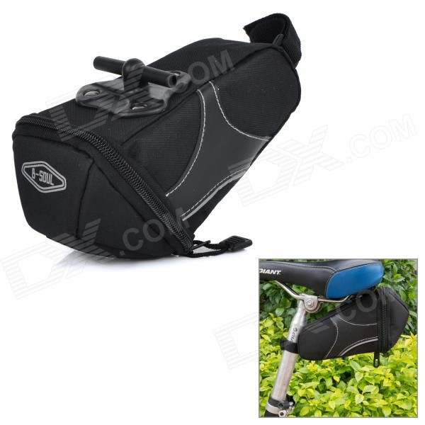 B-soul YA130 Bike Bicycle Oxford Quick Release Saddle Seat Tail Bag w/ Reflective Strips - Black