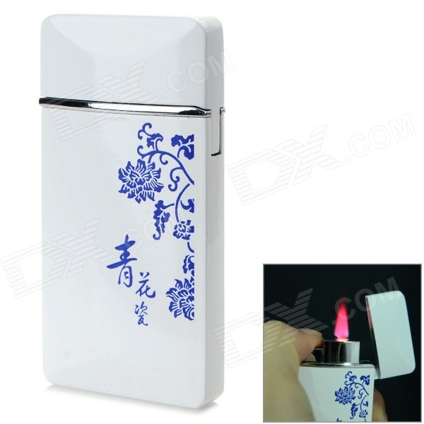 Blue and White Porcelain Pattern Windproof Blue Flame Butane Lighter - White + Blue scorpion pattern windproof dual flame butane gas lighter grey