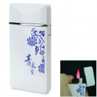 Blue and White Porcelain Pattern Windproof Blue Flame Butane Lighter - White + Blue