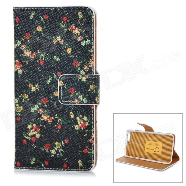 Floral Patterned Flip-Open PU + Plastic Case w/ Stand + Card Slots for IPHONE 6 4.7 - Black + Red high quality leather wallet style flip open case w card slots for iphone 6 plus brown
