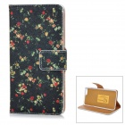 "Floral Patterned Flip-Open PU + Plastic Case w/ Stand + Card Slots for IPHONE 6 4.7"" - Black + Red"