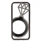 Hollowed Diamond Ring Pattern Titanium Frame Case for IPHONE 5 / 5S - Black