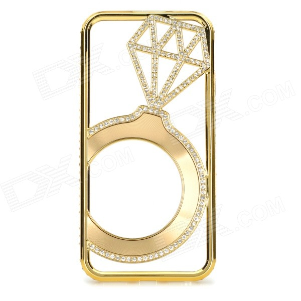 Hollowed Diamond Ring Pattern Titanium Frame Case for IPHONE 5 / 5S - Gold butterfly bling diamond case