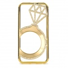 Hollowed Diamond Ring Pattern Titanium Frame Case for IPHONE 5 / 5S - Gold