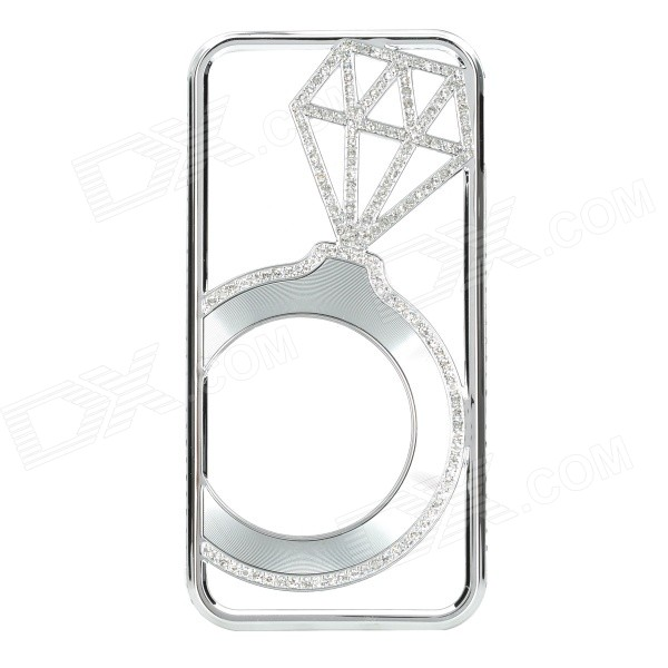 Hollowed Diamond Ring Pattern Titanium Frame Case for IPHONE 5 / 5S - Silver
