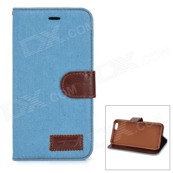 Retro Denim Pattern Protective PU Case w/ Stand / Card Slots for IPHONE 6 PLUS 5.5 - Light Blue stand leather case for iphone 6 plus 6s plus 5 5 inch with card slot dark blue