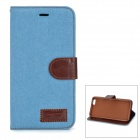 "Retro Denim Pattern Protective PU Case w/ Stand / Card Slots for IPHONE 6 PLUS 5.5"" - Light Blue"