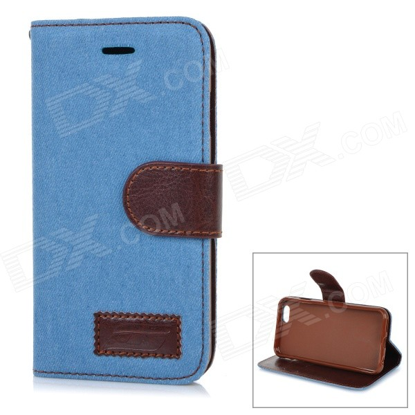 Jeans Patterned Protective Flip-Open PU Case Cover w/ Stand / Card Slots for IPHONE 6 4.7 - Blue