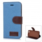 "Jeans Patterned Protective Flip-Open PU Case Cover w/ Stand / Card Slots for IPHONE 6 4.7"" - Blue"