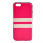 "Horizontal Lines Pattern Protective TPU + PU Back Case Cover for IPHONE 6 4.7"" - Deep Pink + White"